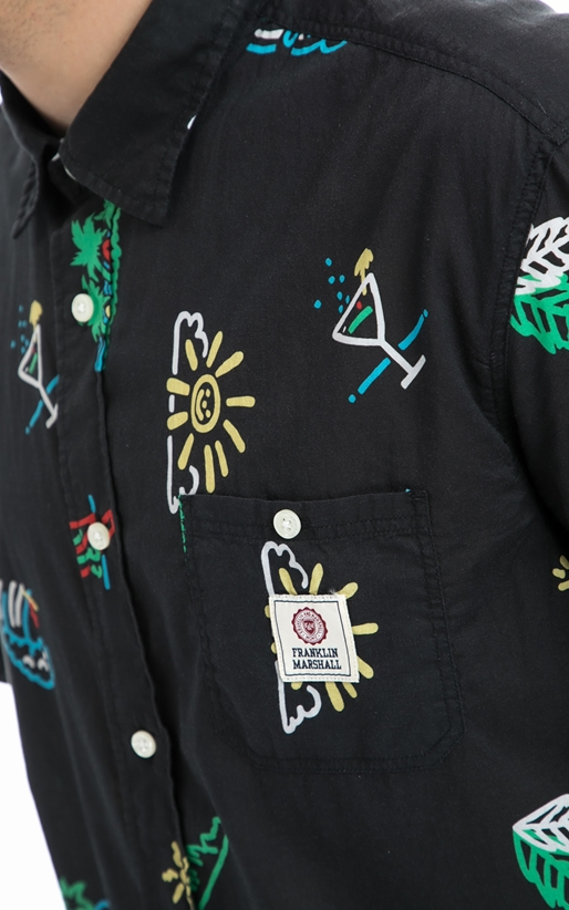 FRANKLIN & MARSHALL-Ανδρικό πουκάμισο Franklin & Marshall μαύρο