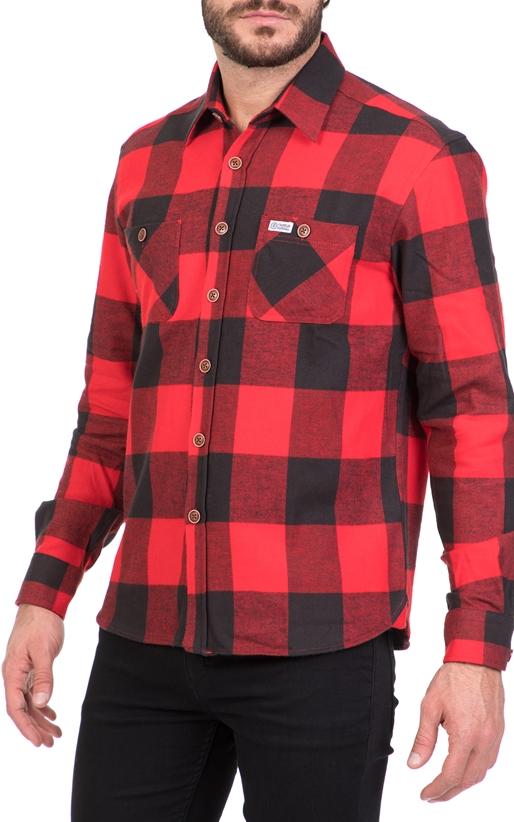 FRANKLIN   MARSHALL-Ανδρικό πουκάμισο FRANKLIN   MARSHALL κόκκινο-μαύρο 293cb0329ed