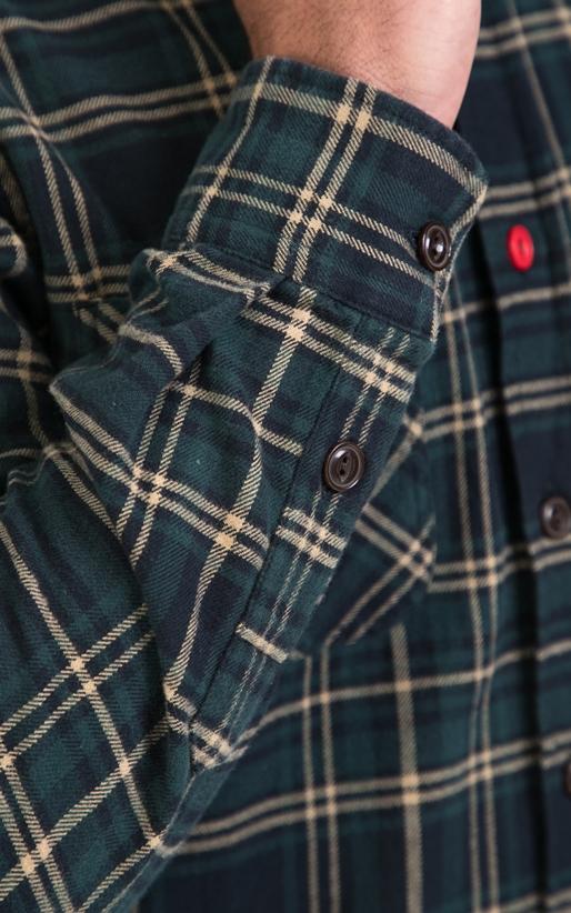 FRANKLIN & MARSHALL-Αντρικό πουκάμισο FRANKLIN & MARSHALL μπλε-πράσινο