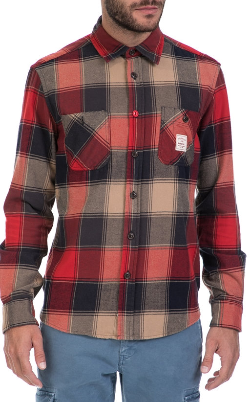 FRANKLIN   MARSHALL-Ανδρικό πουκάμισο FRANKLIN   MARSHALL κόκκινο-μπλε 1b16d369df8