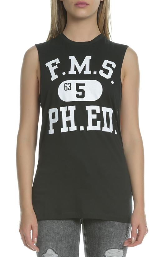 FRANKLIN & MARSHALL-Γυναικεία αμάνικη μπλούζα Franklin & Marshall μαύρη