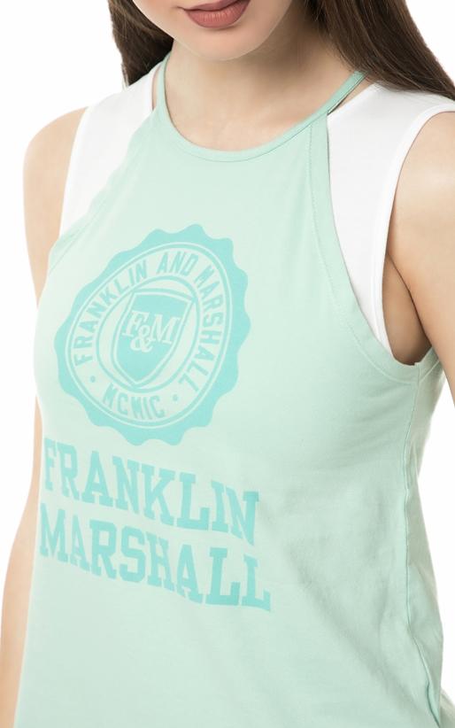 FRANKLIN & MARSHALL-Γυναικεία αμάνικη μπλούζα Franklin & Marshall πράσινη