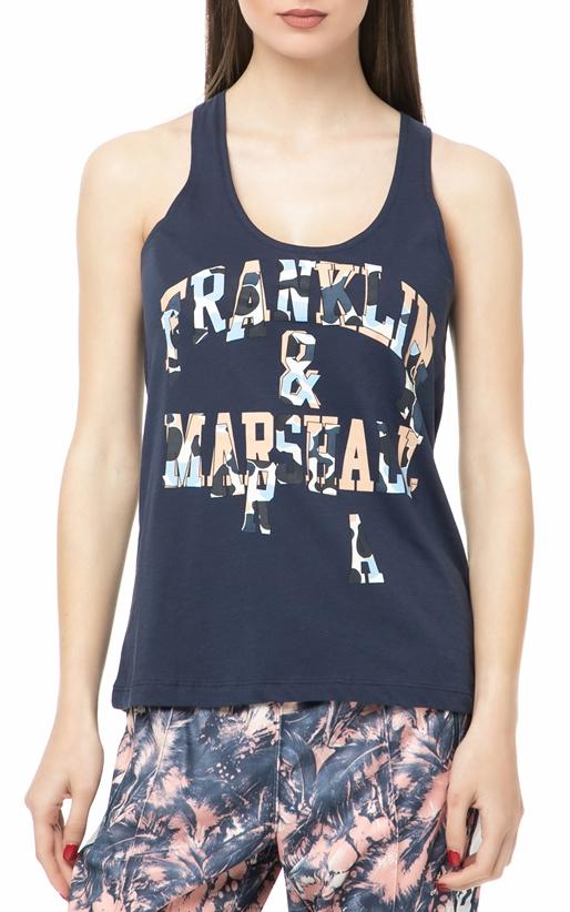 FRANKLIN & MARSHALL-Γυναικεία αμάνικη μπλούζα Franklin & Marshall μπλε με στάμπα