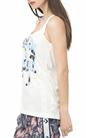 FRANKLIN & MARSHALL-Γυναικεία αμάνικη μπλούζα Franklin & Marshall λευκη με στάμπα