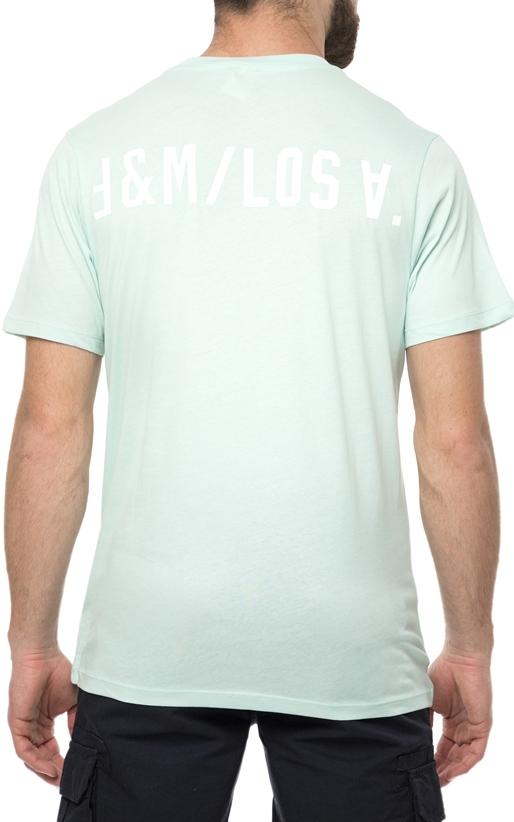 FRANKLIN & MARSHALL-Ανδρική κοντομάνικη μπλούζα FRANKLIN & MARSHALL ανοιχτό πράσινο με πράσινο