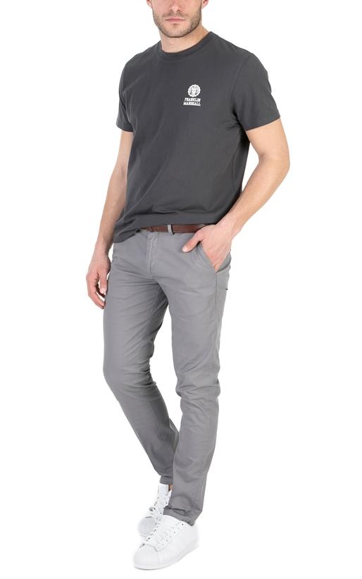 FRANKLIN & MARSHALL-Ανδρική κοντομάνικη μπλούζα FRANKLIN & MARSHALL ανθρακί