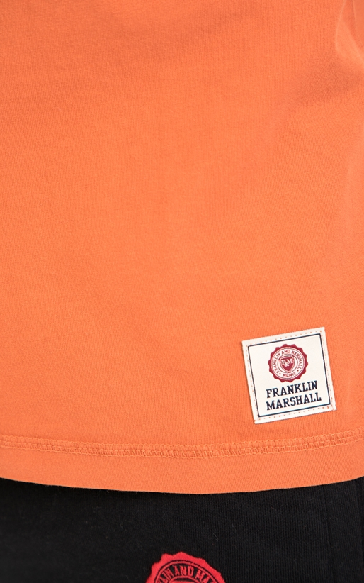 FRANKLIN & MARSHALL-Ανδρικό T-SHIRT JERSEY FRANKLIN & MARSHALL πορτοκαλί