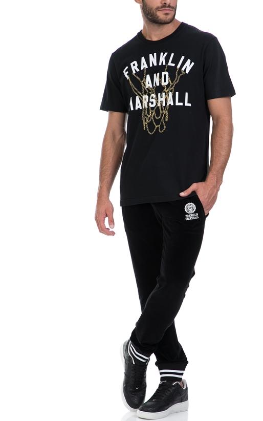 FRANKLIN & MARSHALL-Αντρική μπλούζα FRANKLIN & MARSHALL μαύρη