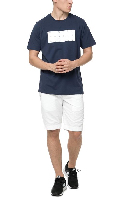 FRANKLIN & MARSHALL-Ανδρική κοντομάνικη μπλούζα FRANKLIN & MARSHALL μπλε