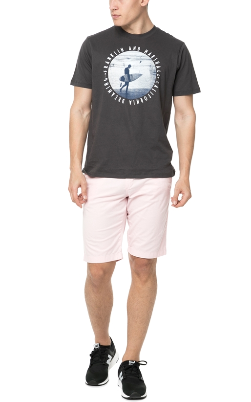 FRANKLIN & MARSHALL-Ανδρικό t-shirt Franklin & Marshall JERSEY ROUND NECK ανθρακί
