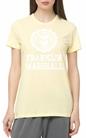 FRANKLIN & MARSHALL-Γυναικείο t-shirt Franklin & Marshall JERSEY ROUND NECK SHORT κίτρινο