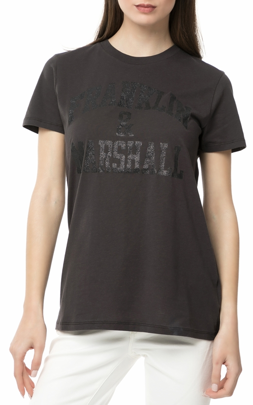 FRANKLIN & MARSHALL-Γυναικείο t-shirt Franklin & Marshall JERSEY ROUND NECK ανθρακί