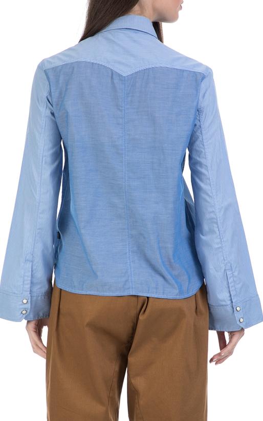 G-STAR RAW-Γυναικείο πουκάμισο Tacoma wide slv bf croppe μπλε