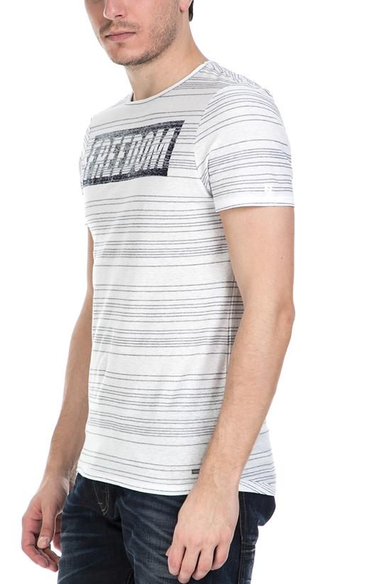 589865f070a5 Ανδρική κοντομάνικη ριγέ μπλούζα Garcia Jeans εκρού - μαύρη (1539094 ...