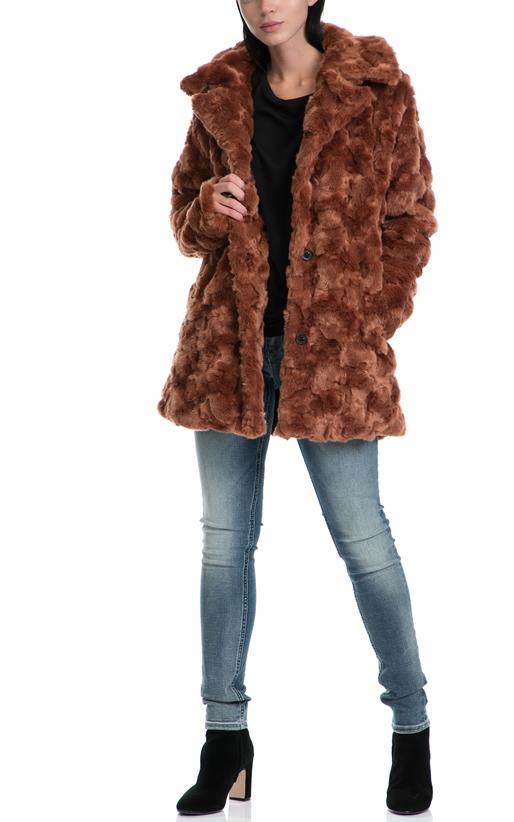 GARCIA JEANS-Γυναικείο παλτό GARCIA JEANS καφέ