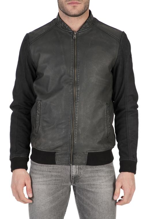 9d1a634f3b GARCIA JEANS-Ανδρικό δερμάτινο μπουφάν Garcia Jeans μαύρο