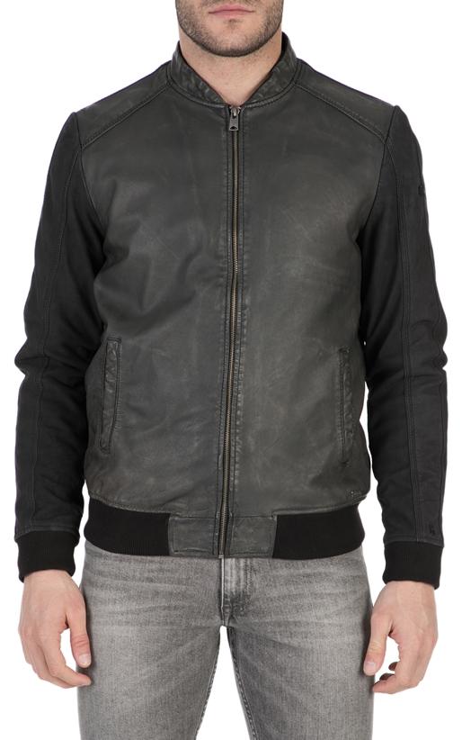 GARCIA JEANS-Ανδρικό δερμάτινο μπουφάν Garcia Jeans μαύρο 6a1eb0ba631