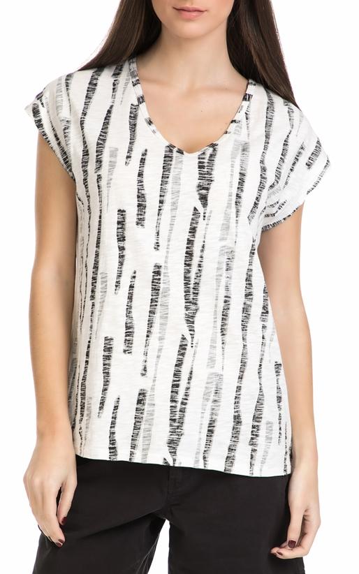 GARCIA JEANS-Γυναικεία κοντομάνικη μπλούζα Garcia Jeans άσπρη - μαύρη