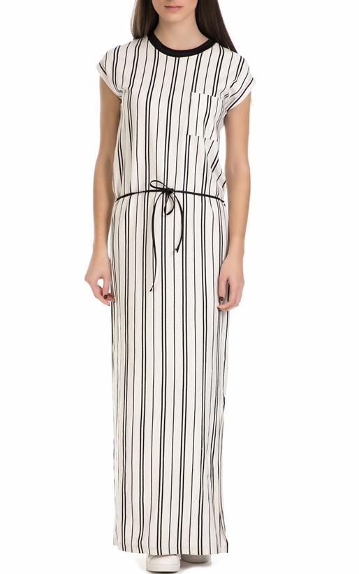 Γυναικείο μακρύ ριγέ φόρεμα Garcia Jeans μαύρο - άσπρο (1623026 ... 16eef0f226a