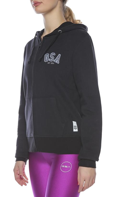 GSA-Γυναικεία μακρυμάνικη φούτερ ζακέτα GSA μαύρη