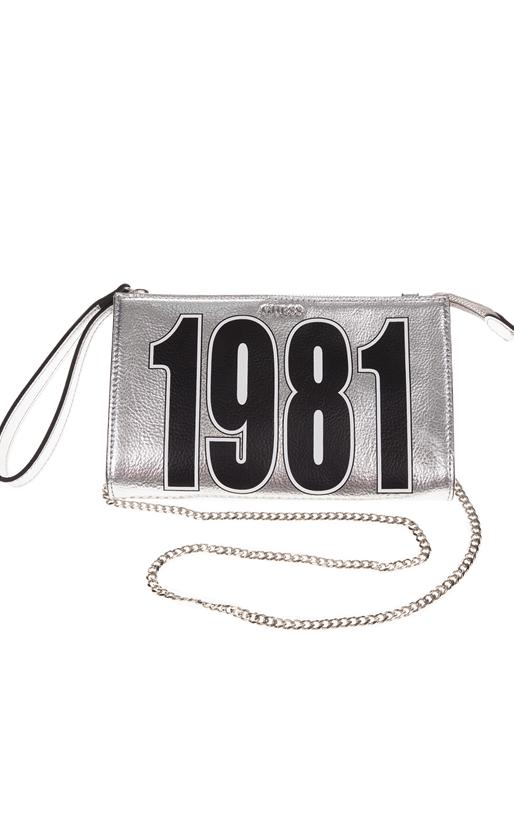 GUESS-Γυναικεία τσάντα ώμου FELIX MINI CROSSBODY TOP ZIP ασημί με στάμπα ee581a7314a