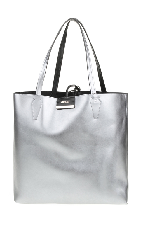 7b2aad25248f GUESS-Γυναικεία τσάντα ώμου διπλής όψης BOBBI LARGE INSIDE OUT TOTE μαύρη -ασημί