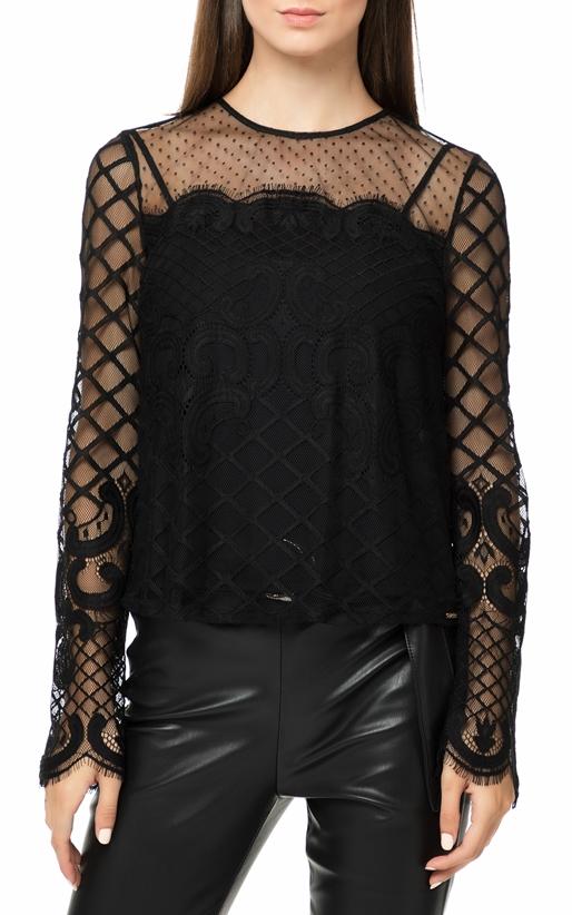 GUESS-Γυναικεία μακρυμάνικη μπλούζα με δαντέλα GUESS HONORIA μαύρη 9665d7af60b