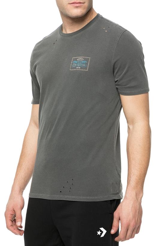 HURLEY-Ανδρική κοντομάνικη μπλούζα HURLEY CHAINED UP DESTROY ανθρακί