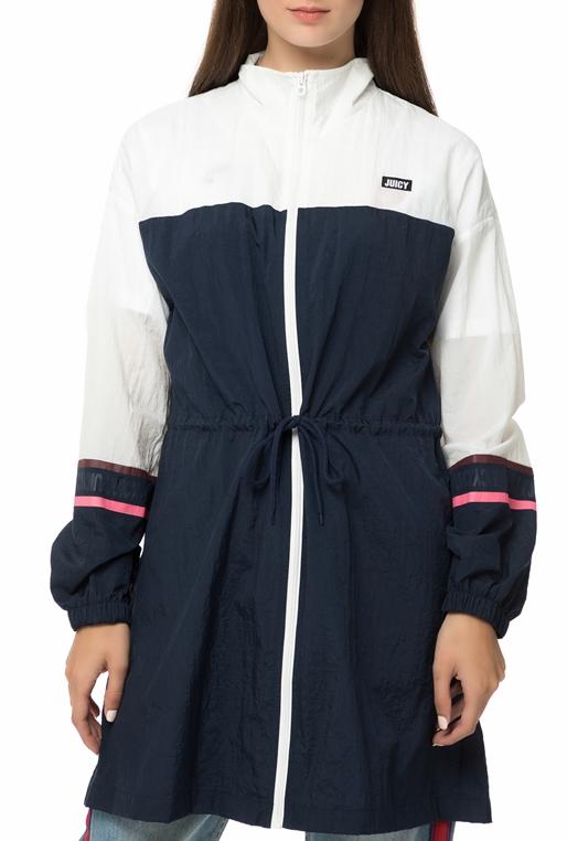 015cd9dae741 JUICY COUTURE-Γυναικείο jacket JUICY COUTURE COLORBLOCK MOCK NECK μπλε -  λευκό