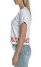 JUICY COUTURE-Γυναικεία κοντομάνικη cropped μπλούζα Juicy Couture λευκή