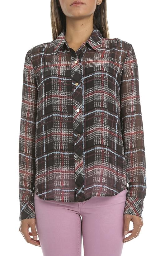 JUICY COUTURE-Γυναικείο πουκάμισο JUICY KRONBERG PLAID BLOUSE καρό μαύρο- κόκκινο f4c2e8e6f48