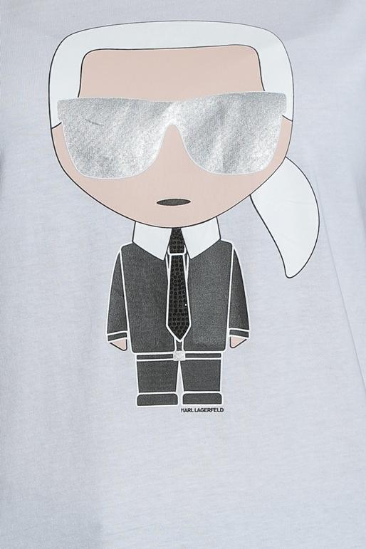 b8629092fe69 KARL LAGERFELD-Γυναικεία κοντομάνικη μπλούζα με στάμπα KARL LAGERFELD λευκή