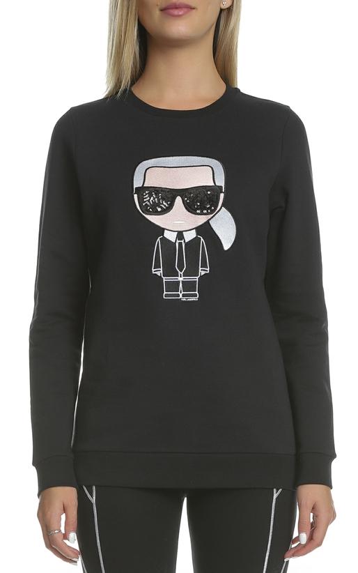 KARL LAGERFELD-Γυναικεία φούτερ μπλούζα KARL LAGERFELD μαύρη με στάμπα 94b101a9126