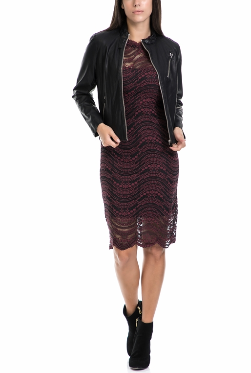 c0fc2dd153c4 MOLLY BRACKEN-Γυναικείο φόρεμα MOLLY BRACKEN μαύρο-μπορντό