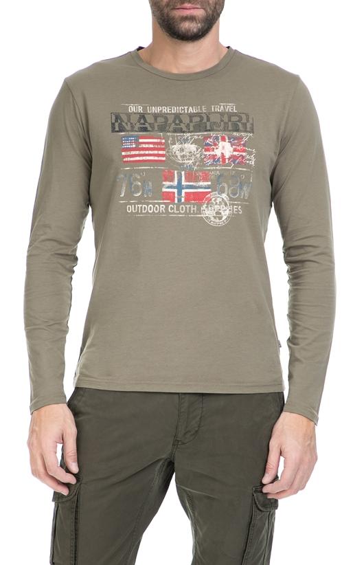 NAPAPIJRI-Ανδρική μπλούζα NAPAPIRJI χακί