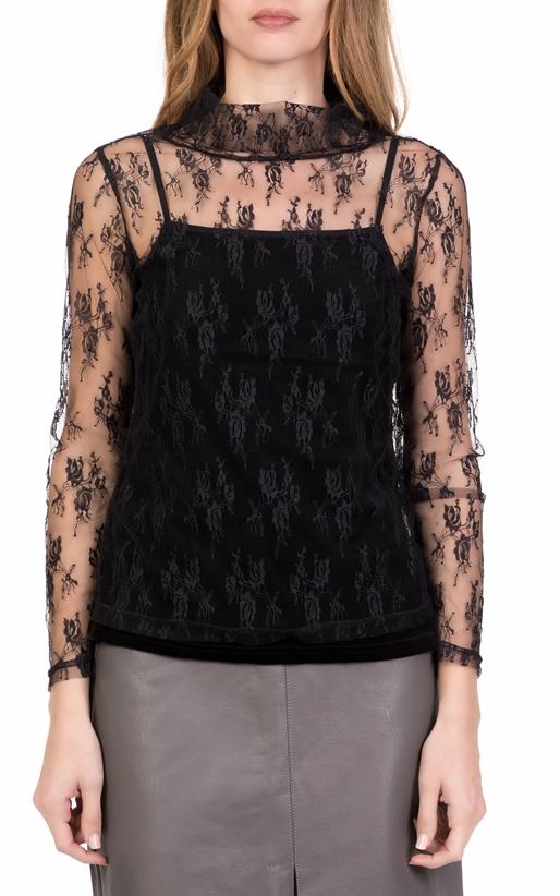 Γυναικεία μακρυμάνικη μπλούζα με δαντέλα NU μαύρη (1699576 ... 7a6912e3d5c
