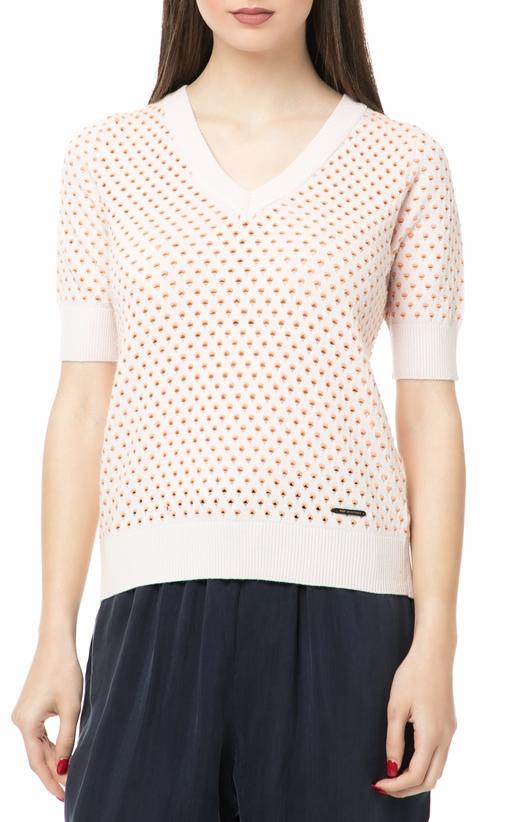 Γυναικεία κοντομάνικη πλεκτή μπλούζα NUMPH λευκή (1669449 ... 8d67b538cf6