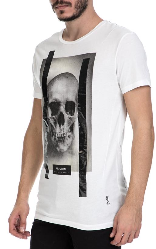 RELIGION-Ανδρικό T-shirt SKULL FOIL TEE RELIGION λευκό