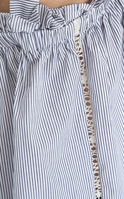 SCOTCH & SODA-Τοπ Cotton with ruffle MAISON SCOTCH μπλε-λευκό