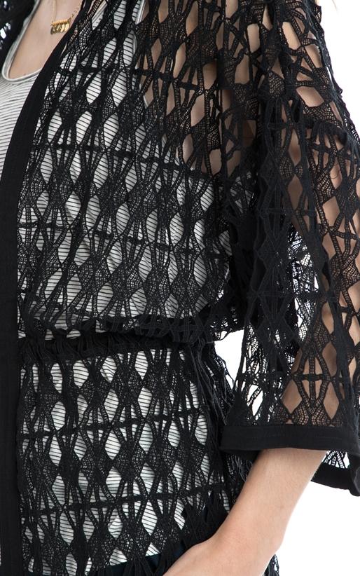 SCOTCH & SODA-Ζακέτα Open lace throw on hooded MAISON SCOTCH μαύρη