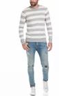 SCOTCH & SODA-Ανδρική μπλούζα Home Alone cotton linen crew γκρι-λευκή