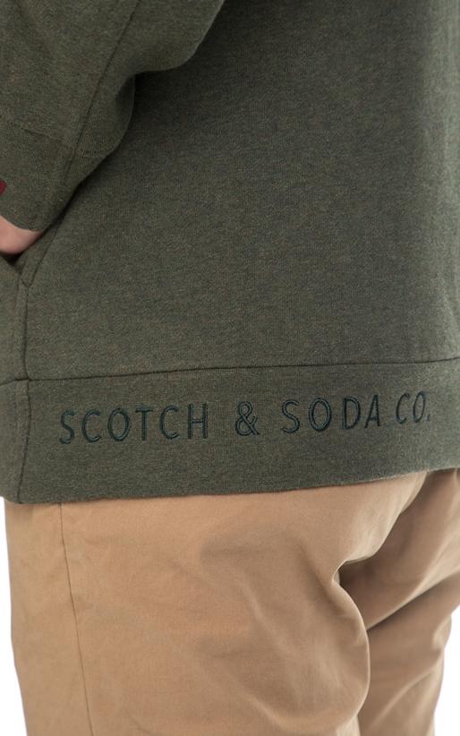 SCOTCH & SODA-Ανδρική φούτερ ζακέτα SCOTCH & SODA λαδί