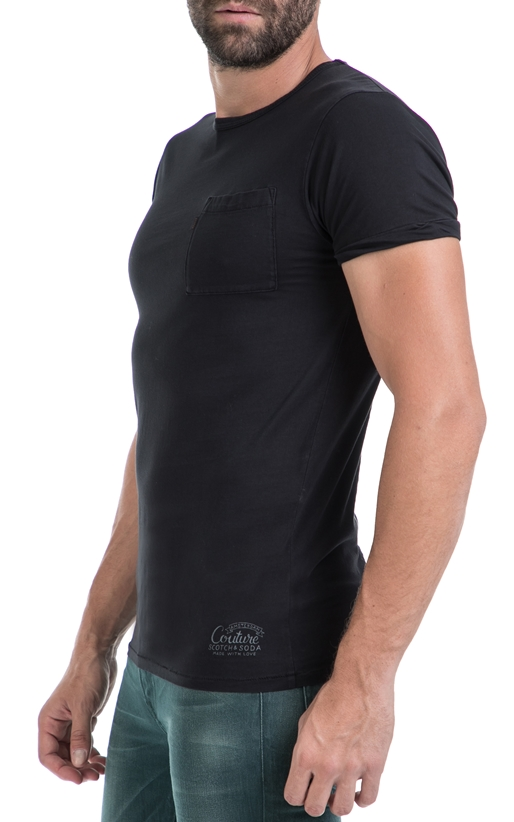 SCOTCH & SODA-Ανδρική μπλούζα Classic garment dye tee with c μαύρη