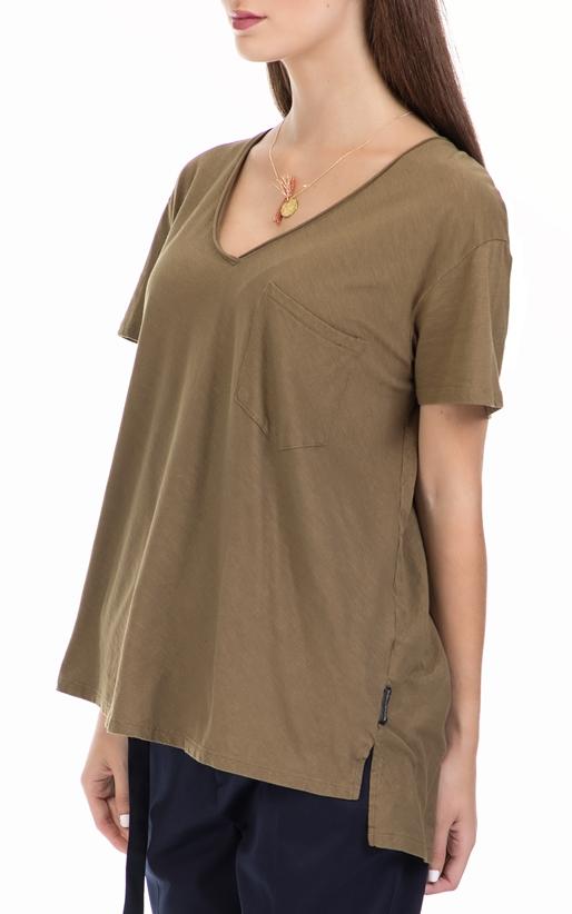 SCOTCH & SODA-Γυναικεία μπλούζα Basic slub v-neck tee χακί