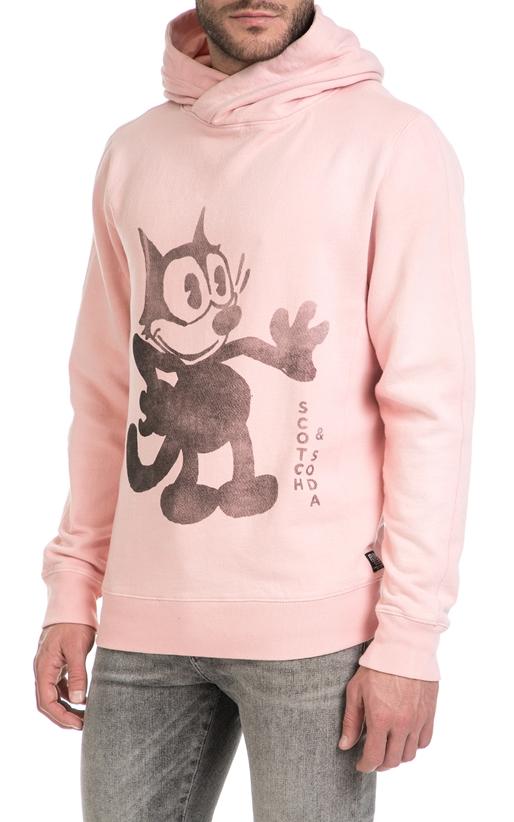 SCOTCH & SODA- Ανδρική μακρυμάνικη φούτερ μπλούζα Scotch & Soda ροζ