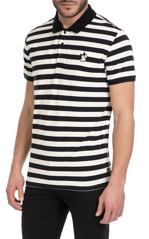 SCOTCH & SODA-Ανδρική πόλο μπλούζα FELIX SCOTCH & SODA λευκή-μαύρη