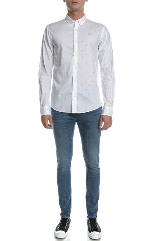 SCOTCH & SODA-Ανδρικό μακρυμάνικο πουκάμισο Scotch & Soda λευκό