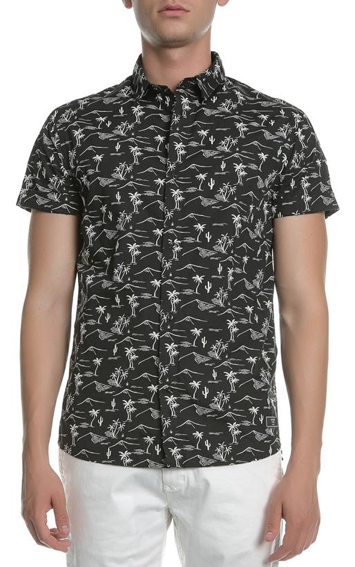 SCOTCH & SODA-Ανδρικό κοντομάνικο πουκάμισο SCOTCH & SODA The Pool Side μαύρο με print