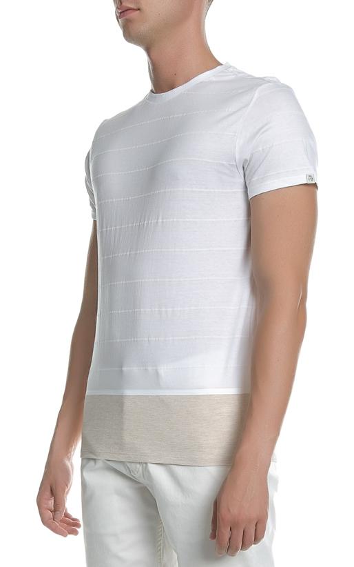 SCOTCH & SODA-Ανδρική κοντομάνικη μπλούζα Scotch & Soda λευκή - μπεζ