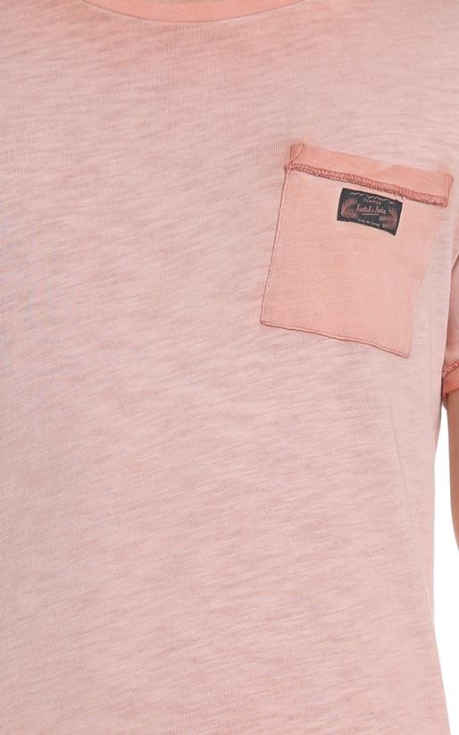 SCOTCH & SODA-Ανδρικό T-shirt Oil-washed tee SCOTCH & SODA ροζ